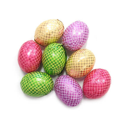 Eggs Foiled Checkered Solid Crispy Milk Chocolate 5 oz