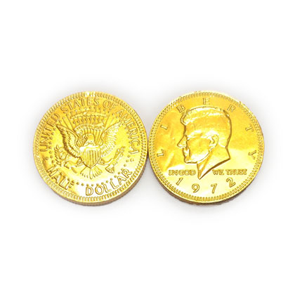 Gold Coins Chocolate Foiled Half Dollar Imported 5 oz
