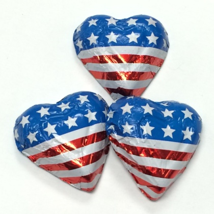 Hearts American Foiled Solid Milk Chocolate 5 oz