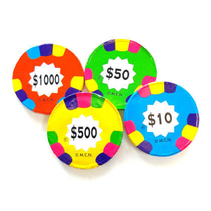 Poker Chips Assorted Foiled Solid Milk Chocolate 5 oz