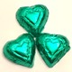 Hearts Green Foiled Solid Milk Chocolate 5 oz