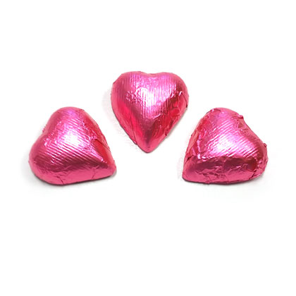 Hearts Bright Pink Foiled Milk Chocolate 7 oz