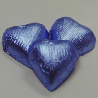 Hearts Pastel Blue Foiled Milk Chocolate 7 oz