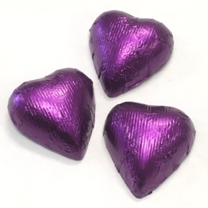 Hearts Purple Foiled Milk Chocolate 7 oz