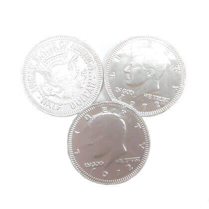 Silver Coins Chocolate Foiled 6 oz