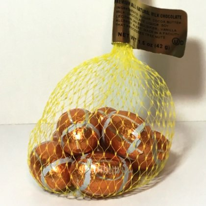 Footballs Foiled Solid Milk Chocolate Mesh Bag